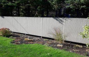 Clôture Avantage et Lévisienne, clôtures à Québec Mailles de chaîne 5' couleur taupe ou beige avec lattes