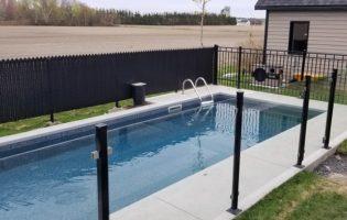Clôture Avantage et Lévisienne, clôtures à Québec Verre 6 mm avec poteaux sans cadre